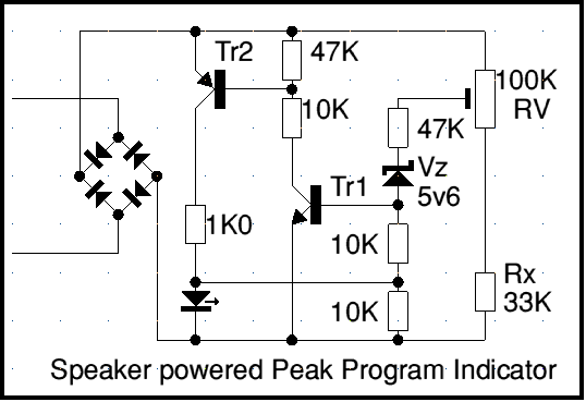 4qd tec speaker powered peak program indicatorsignal it is detecting when the voltage being delivered to the speaker exceeds the level set up by the preset rv, the led indicator flashes